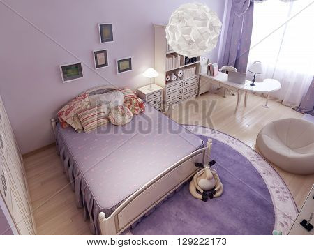 Classical bedroom divided into zones. 3D render