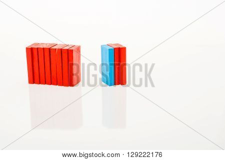 Red and blue Color Dominoes on a white background