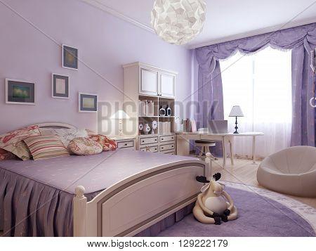 Comfort bedroom for teenager girl. 3d render