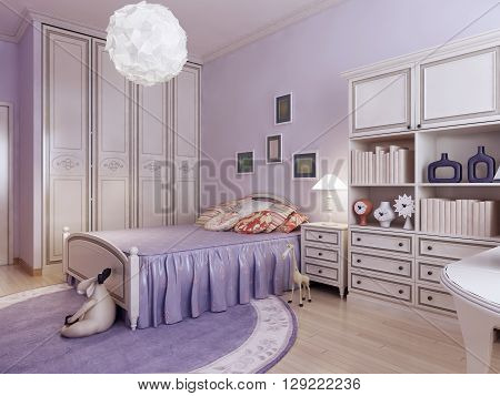 Bedroom with wardrobe and toys. 3d render