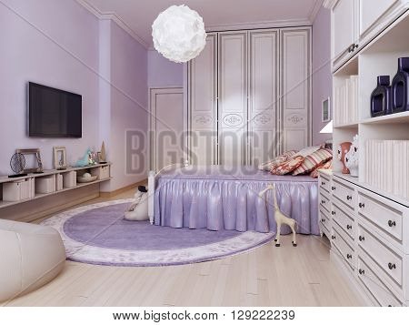 Idea of bright bedroom for girls. Inspiration for a beautiful contemporary girls bedroom kids with purple walls and medium tone hardwood floors. 3D render