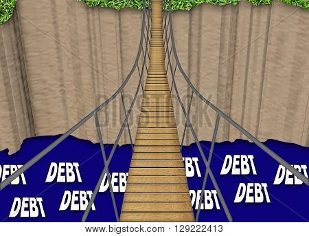 Illustration of a rope bridge crossing a river of debt