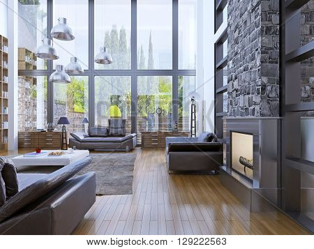 Loft apartment interior design with panoramic window. Living room with grey hanging lamp upper white low table. 3D render