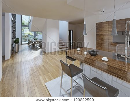 High-tech styled kitchen with dining room. The bar counter with stools black. Kitchen furniture is made in the texture of striped dark wood. Two-storey panoramic window perfectly illuminate the entire room. The kitchen is located on a hill made of polishe