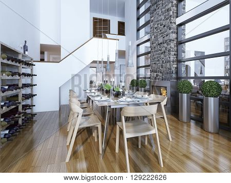 Dining room modern style with fireplace and home wine rack. Served with a light wooden table for 10 people. Cozy and bright room by the fireplace and panoramic two-story windows. Wine rack for connoisseurs. 3D render