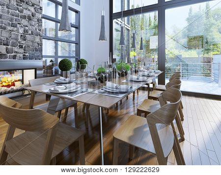Well decorated table in a room with large windows and a cozy fireplace. Dining room furniture brown as well as flooring. The main contrast appear white walls and large panoramic windows. 3D render