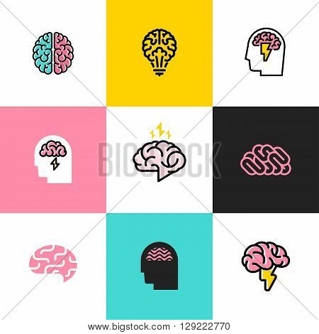 Set of flat line icons of brain brainstorming idea and creativity