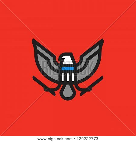 Modern flat line heraldry symbol of stylized american eagle with shield