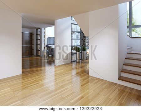 Bright modern corridor with stairs. Corridor with access to the dining room and living room staircase to the second floor. The white walls and light parquet floors. Unusual solutions. Modern architecture. 3D render