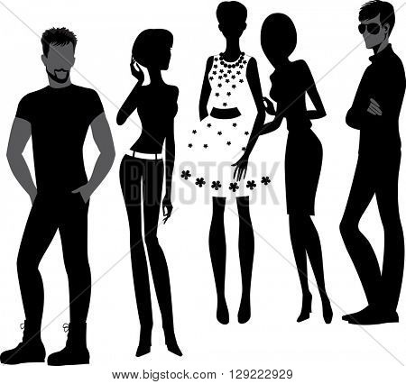 silhouettes of fashion men and woman