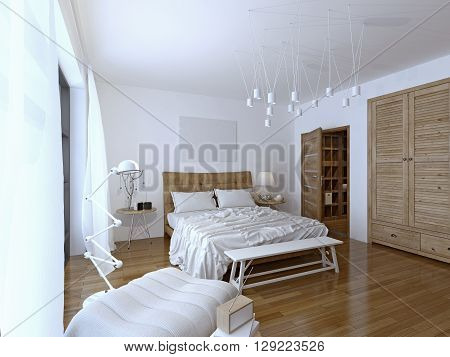 Bedroom modern style. There is enough space beside the bed for nightstands and ample circulation so you can access three sides of the mattress. 3D render