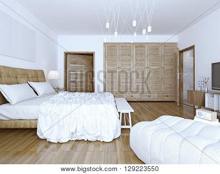 Idea of spacious loft bedchamber. 3D render