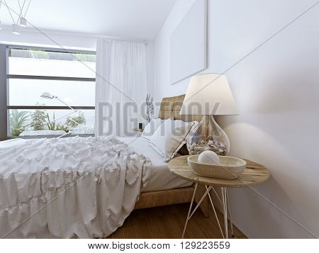 Unmade bed in bright contemporary room. 3D render