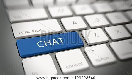 Online or internet concept with white text - CHAT - on a blue enter key on a white computer keyboard viewed at an oblique high angle with blur vignette for focus. 3d Rendering.