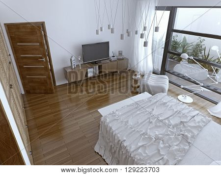 Comtemporary bedchamber with panoramic window. 3D render