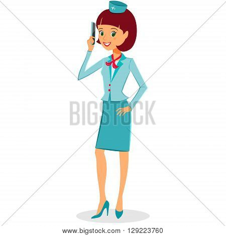 Cheerful cartoon flight attendant in uniform talking on smartphone vector illustration professional occupation character. Isolated on white background. Communication in the air concept