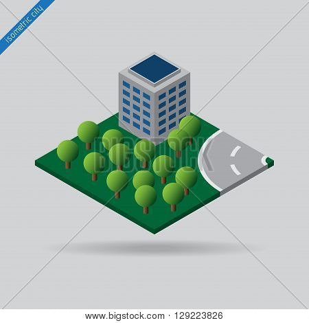 isometric city - green space with trees building and road with the dotted line
