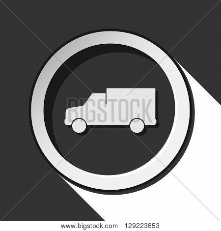 black icon - lorry car with white stylized shadow