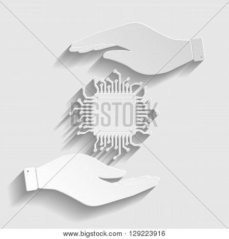 CPU Microprocesso. Save or protect symbol by hands. Paper style icon with shadow on gray.