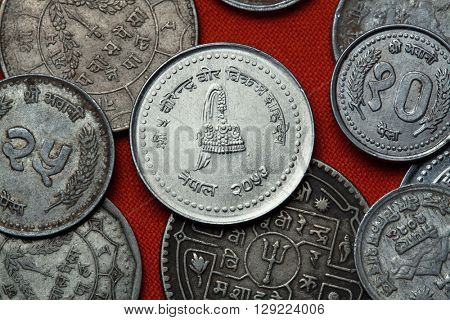 Coins of Nepal. Nepalese royal crown depicted in the Nepalese 50 paisa coin.