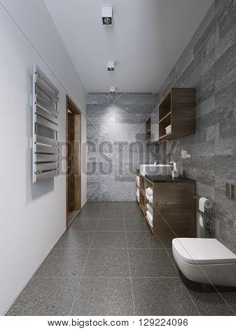 Bright modern bathroom interior design. 3D render