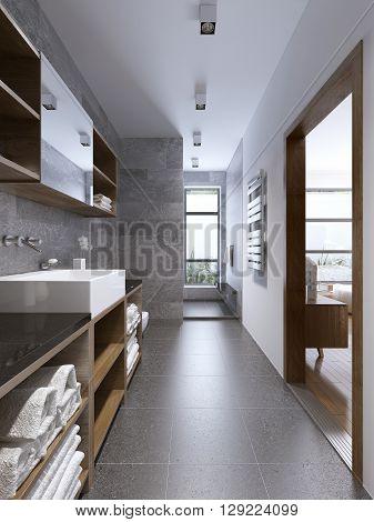 Bright modern bathroom interior with separaded shower. Spacious multifunctional bathroom design. Waterproof ceiling lights. 3D render
