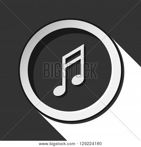 black icon - musical note with white stylized shadow