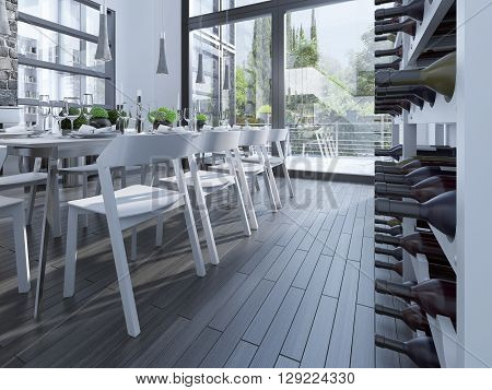 Wine rack on dining room. Wine rack in a bright room with a high ceiling. gray laminate. 3D render