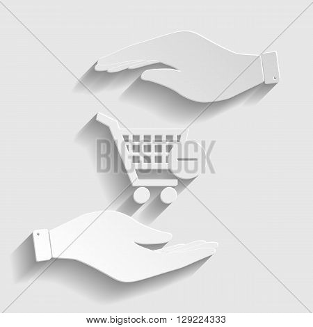 Vector Shopping Cart Remove from Cart Icon. Save or protect symbol by hands. Paper style icon with shadow on gray.