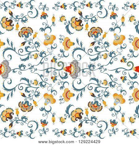 Seamless oriental tribal vector pattern with oriental flowers