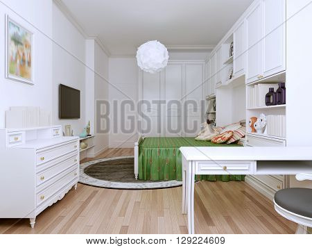 Bright bedroom art deco style. Impressive spacious bedroom to implement all excellent ideas for teenagers. Bright colors cheer up and energize the whole day. 3D render