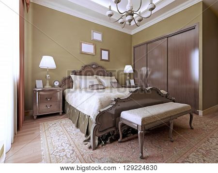 Luxury bedroom english style. Luxurious bed with headboard handmade. Soft mattresses and a bench beside the bed. 3D render