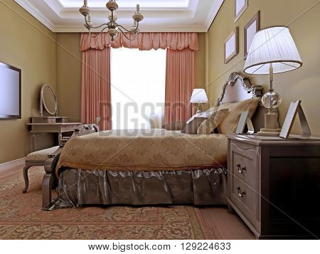 Classic english bedroom design. Elegant room with dressing table made in soothing color combinations. Brown walls and light wood flooring. 3D render