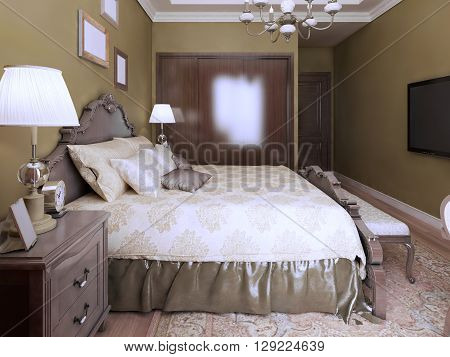 Idea of modern bedroom english style. 3D render