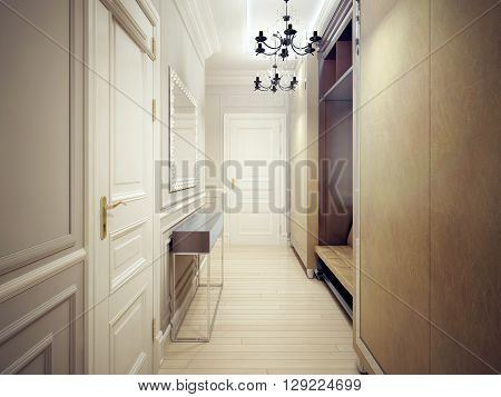 Modern corridor style. A narrow and functional corridor with light gray walls wardrobes and sofa console and large mirror. 3D render