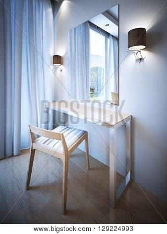 Dressing table with large mirror. Mirror without frame two sconces with dark brown shades. Metal table with wooden top and cute soft chair. 3D render