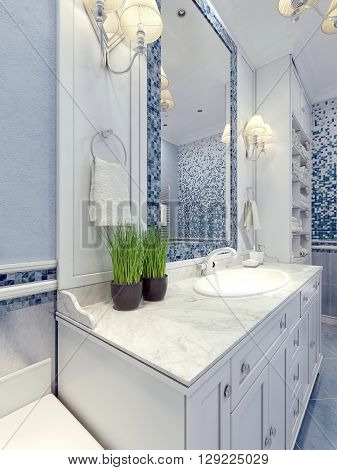 Provence blue bathroom trend. Bathroom furniture in white. A large mirror with mosaic frame of blue white mixer sink consoles. 3D render