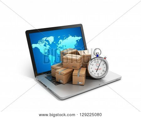 Cardboard Boxes Package Parcels And Laptop - Logistic, Cargo, Delivery, And Shipping Concept.3D Rend