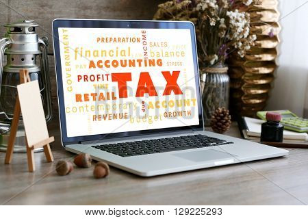 Tax concept. Workplace. Retro design concept