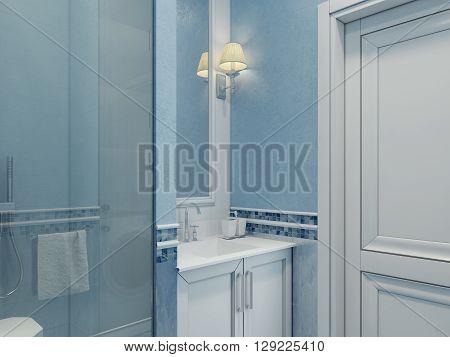 Design of modern bathroom. Bathroom elegantly made blue. Shower cubicle with glass door. Plastered blue walls and white door. 3D render