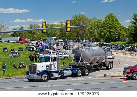 LANCASTER PENNSYLVANIA - MAY 8 2016: Make-A-Wish Foundation sets a new Guinness World Record for the largest truck convoy with 590 trucks.