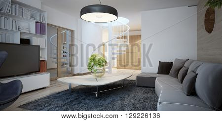 Cozy sitting room design. The design of the living room in a cottage with dark furniture and walls combined decoration. 3D render