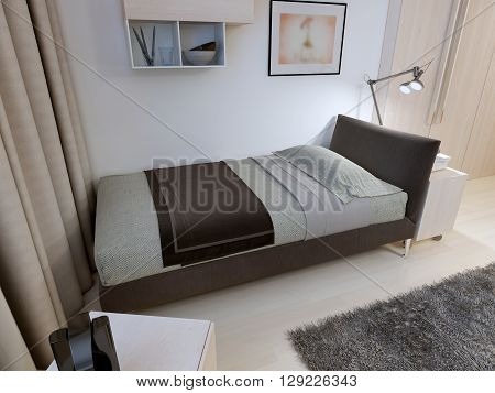 Hotel bedroom in modern design. Soft bed with bedside Table in the bedroom with a modern design. The soft tone colors. 3D render