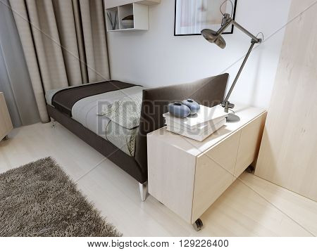 Bedroom with strict furniture. Soft black bed with a blanket and pillow bedside table metal lamp wool carpet. 3D render