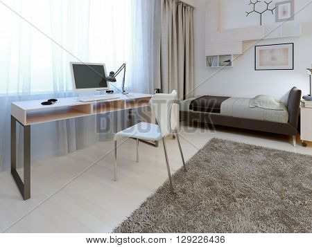 Idea of working area at bedroom. White table and chair with metal props near the window. The simplicity and elegance. 3D render