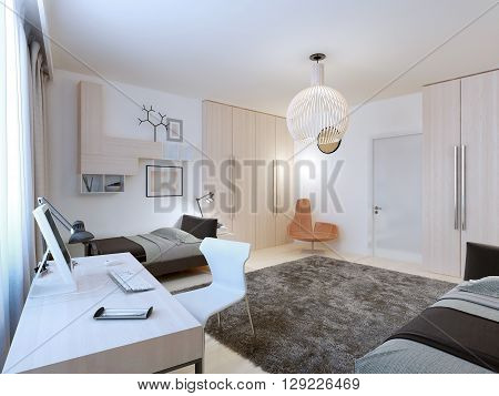 Interior of teenagers bedroom with working area. 3D render