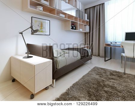 Modern bedroom with white walls. 3D render