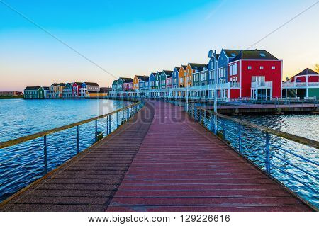 colorful row houses in Houten Netherlands at dusk