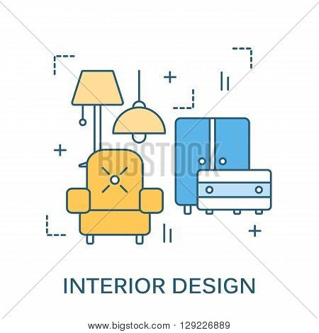Thin Line Flat Design For Interior Website With Icons Furniture Decor Elements