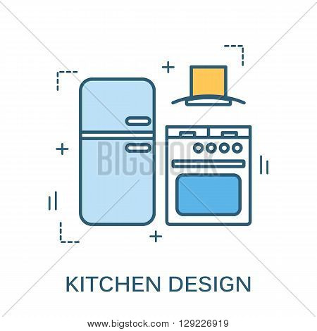 Thin line flat design of kitchen design banner. Modern vector illustration concept, isolated on white background.